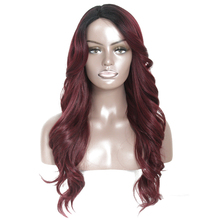 SOKU Synthetic Wigs With Bang 24 inch Side Part Long Wavy Wigs Glueless Heat Resistant Fiber Hair Wigs For Black Women