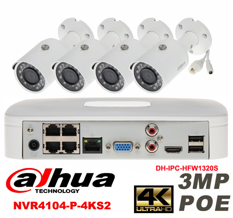 Dahua original 4CH 3MP H264 DH-IPC-HFW1320S 4pcs bullet IP security camera 4k POE DAHUA DHI-NVR4104-P-4KS2 Waterproof camera kit dahua 3mp ir waterproof