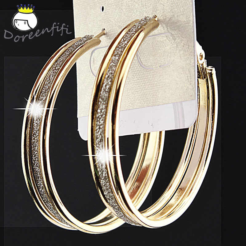 Female Fashion 3 Rows Frosted Big Gold-color Hoop Earrings for Womens Wedding Bridal Party Jewelry Pendientes Brincos Oorbellen