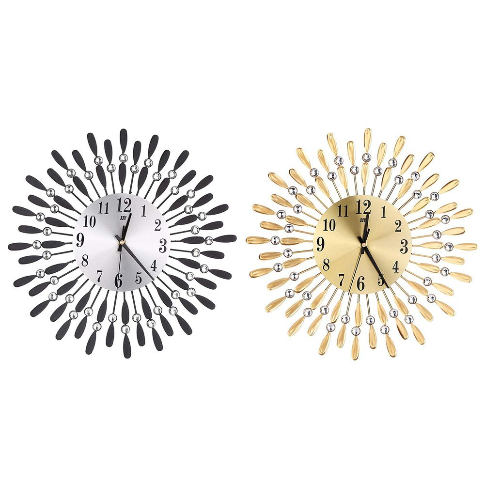 Image 4 - 15 inch 3D Large Wall Clock Shiny Rhinestone Sun Style Modern Living Room Decor-in Wall Clocks from Home & Garden