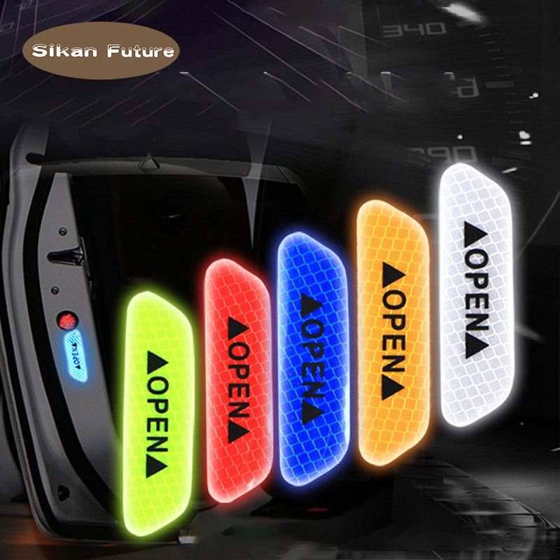 SiKan.4pcs Fluorescent Car OPEN Reflective Strip Waterproof Warning Paste Night Driving Safety Lighting Luminous Adhesive Tape