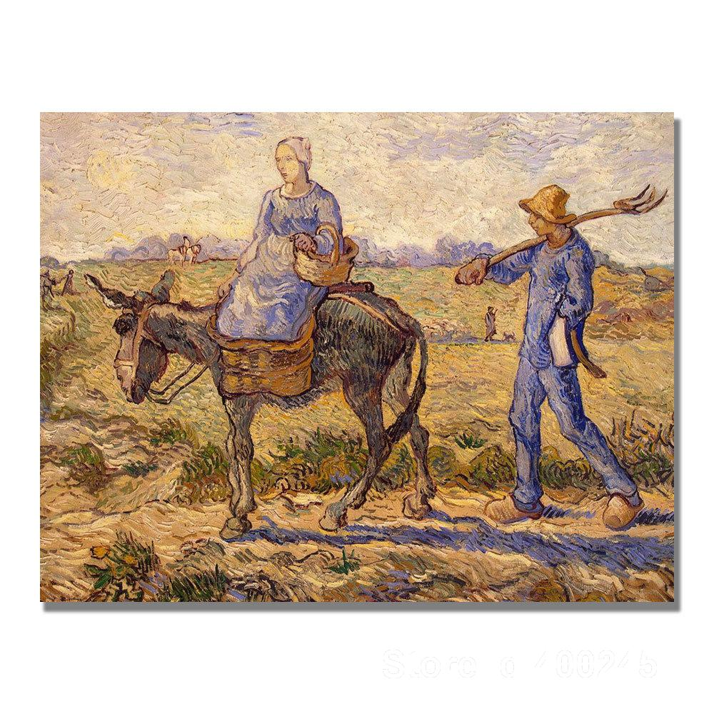 Famous Oil painting Morning Going out to Work Vincent Van Gogh reproductions Canvas Art High quality Hand paintedFamous Oil painting Morning Going out to Work Vincent Van Gogh reproductions Canvas Art High quality Hand painted