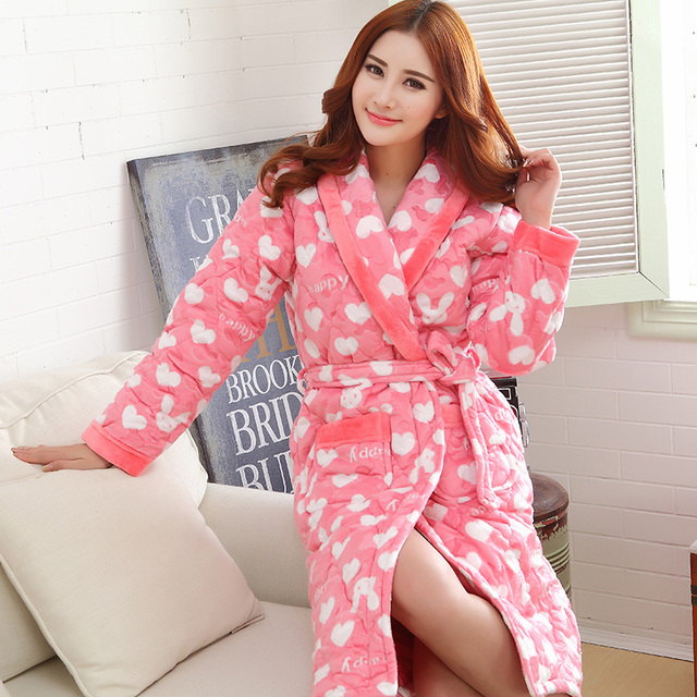 32249784f3 Russia women warm winter overalls Bath Robe Women Bathroom Robe Female  Bathrobe Quilted Pajamas Thick Long
