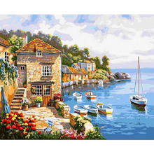 Beautiful Seaside House Scenery 5D Diamond Painting Embroidery Full Square Drill Full Round Mosaic Home Room Decoration Gift full house