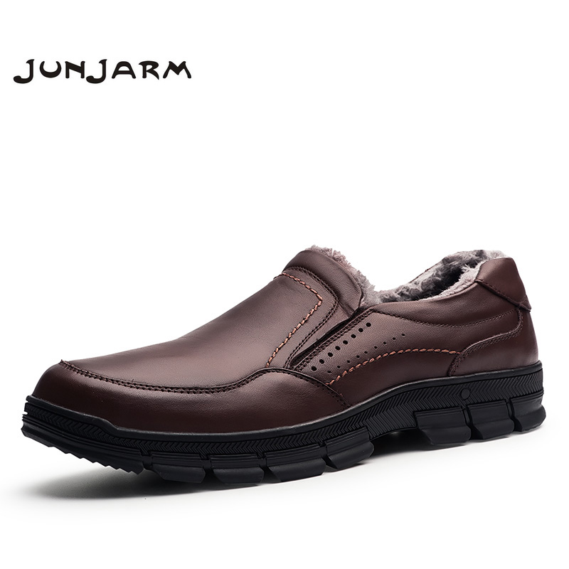 JUNJARM 2018 Men Leather Shoes Casual Flats Warm Men Winter Shoes Non-slip Loafers Luxury Brand Designer Men Snow Shoes 38-47 men cow split leather shoes casual loafers soft and comfortable oxfords non slip flats luxury brand designer shoe zapatos hombre