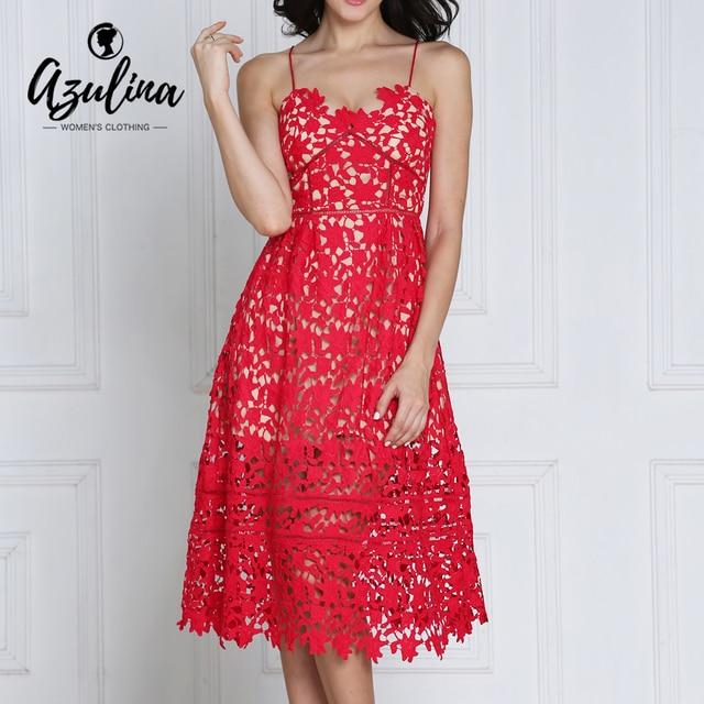 Azulina кружева выдалбливают sexy women dress ремень спинки красный партия клуб платья женские летний пляж повседневные платья vestido халат