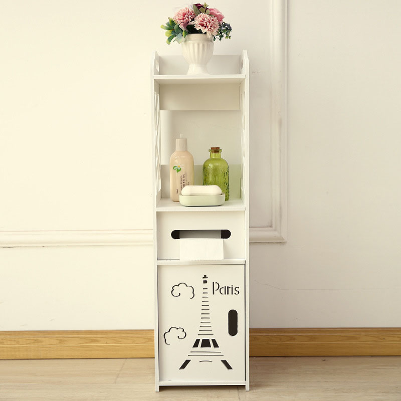 Floor Mounted Bathroom Shelf PVC Toilet Storage Cabinet Corner - Bathroom vanities floor mounted
