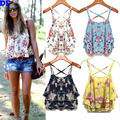 Chiffon Women Tops Fashion 2016 Summer New Crop Top Floral Print Shirts Strapless Sexy Bustier Crop Top Fitness Women Camis Sale