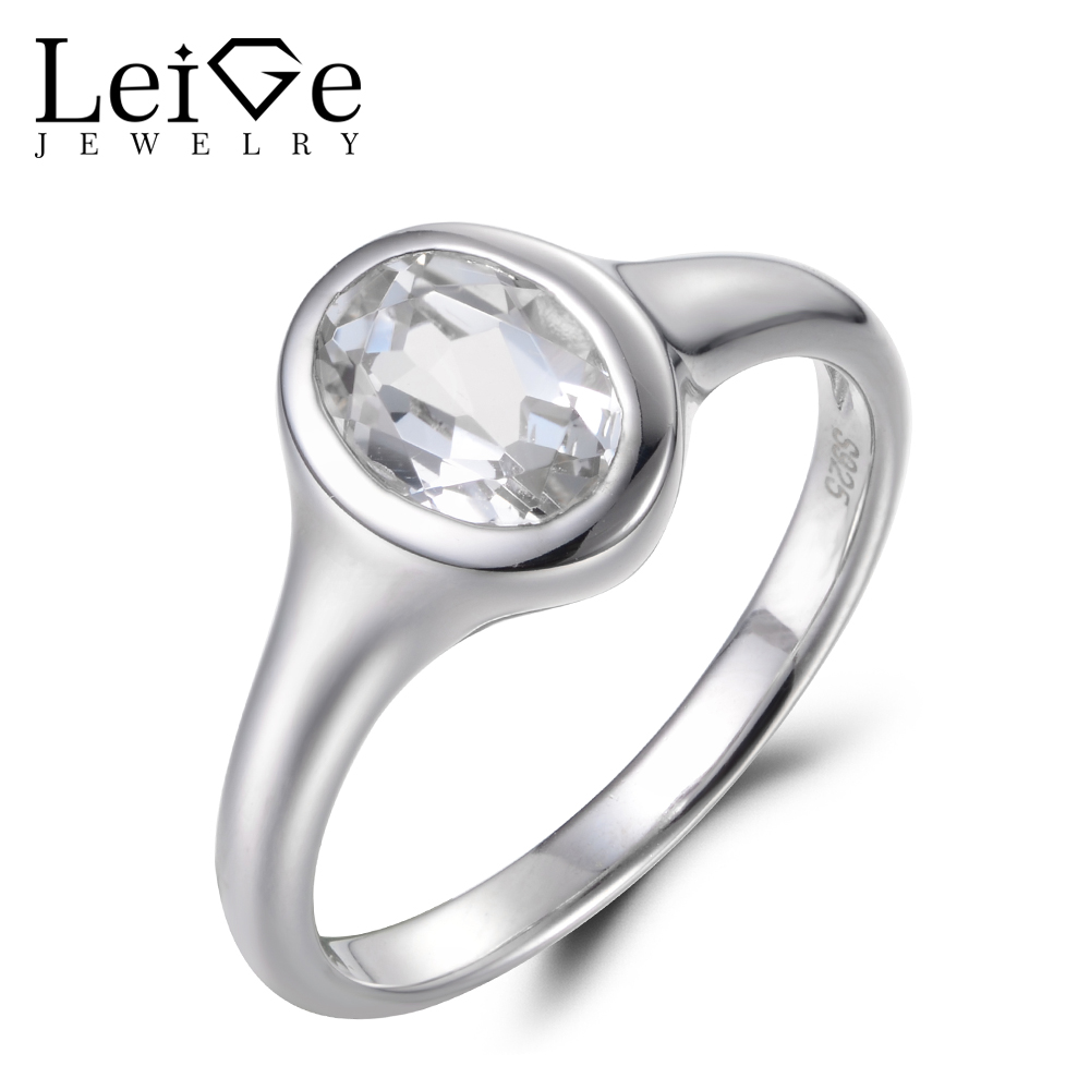 Leige Jewelry Natural White Topaz Ring Wedding Ring November Birthstone 925 Sterling Silver Simple Ring Elegant Ring for GirlsLeige Jewelry Natural White Topaz Ring Wedding Ring November Birthstone 925 Sterling Silver Simple Ring Elegant Ring for Girls