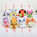 8pcs/lot Digimon Adventure plush Agumon Gabumon Gomamon Biyomon Palmon Patamon Digimon Plush Toys Keychain Soft Stuffed Dolls