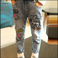 2-10Years girls Spring Autumn Girls jeans Washing graffiti trousers Children Pants Baby Girl Jeans Children Clothing Kids Jeans