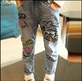 2-10Years niñas Primavera Otoño de Las Muchachas que Lavan los pantalones vaqueros de graffiti pantalones de Los Niños Pantalones de Bebé Niña Vaqueros Niños Jeans Ropa para Niños
