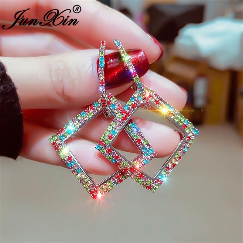 JUNXIN Vintage Rainbow Crystal Hoop Earrings White Gold Yellow Gold Color Big Wedding Teardrop Square Round Earrings For Women