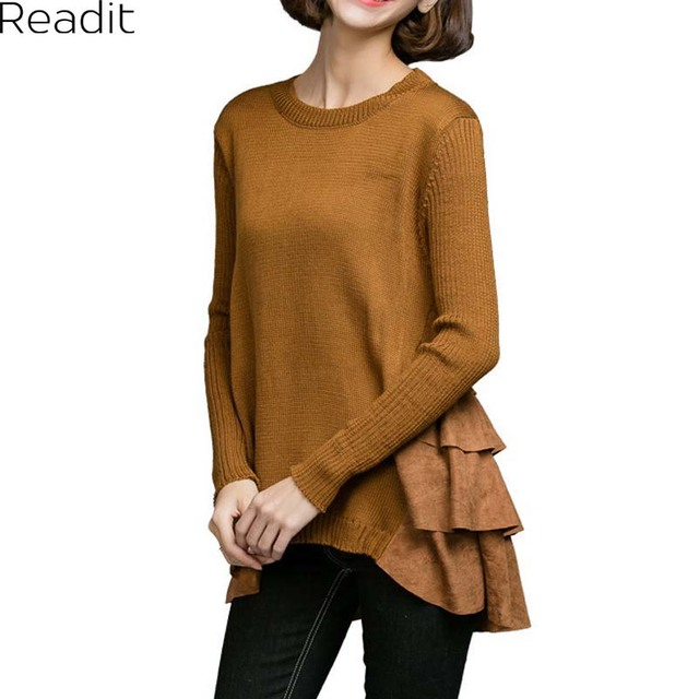 Ruffles Sweaters Women Casual O-neck Knitting Pullovers Plus Size XL-4XL Slim Sweaters K1762