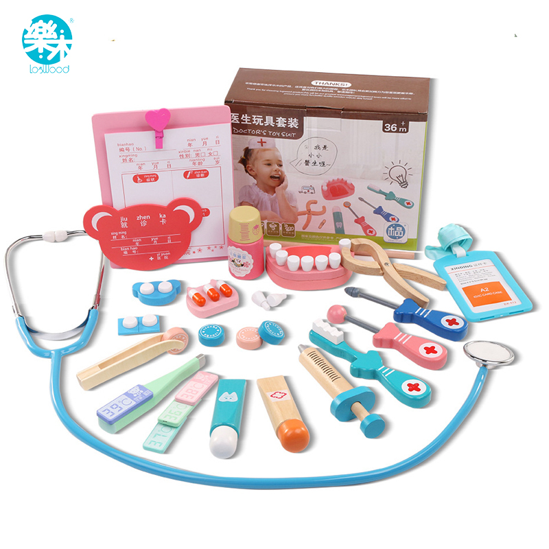 Logwood Wooden toys Funny play Real Life Cosplay Doctor game toy Dentist Medicine BoxPretend Doctor Play 20PCS Set For Children