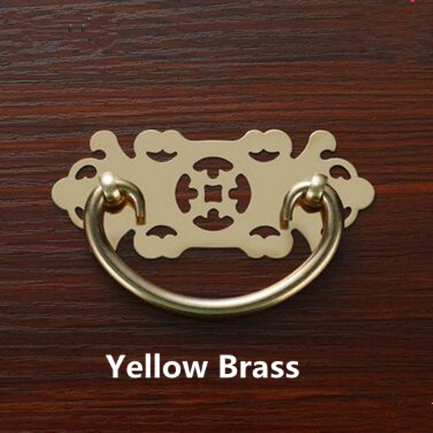 60mm Rustico Retro Style Yellow Brass Shaky Drop Rings Furniture Handles  Antique Brass Drawer Cabinet Pulls Knobs Handles