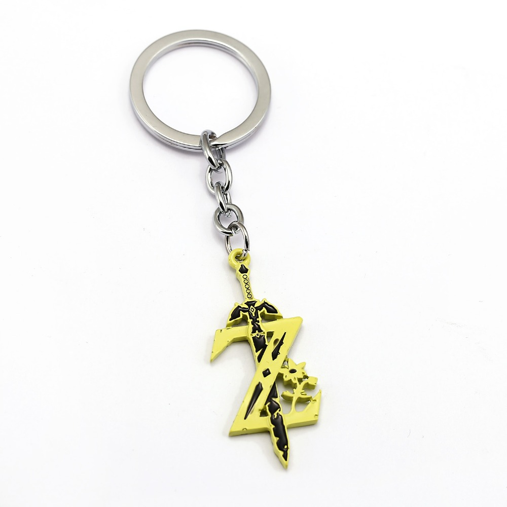 12pcs/lot The Legend of Zelda Keychain The Sword with Z Key Ring Holder Fashion Car Chaveiro hot game Key Chain Gift Jewelry
