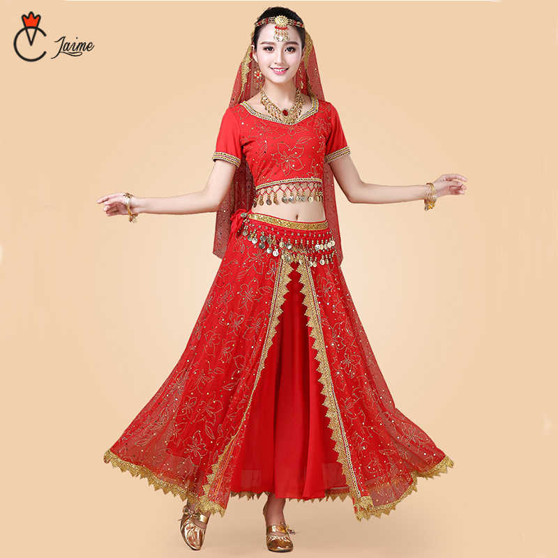 cc2133444 Indian Dance Costumes Bollywood Dress Sari Dancewear Women/Children Belly  Dance Costume Set 7 pieces