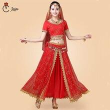 인도 댄스 의상 볼리우드 드레스 사리 댄스웨어 여성/어린이 밸리 댄스 의상 세트 7 개