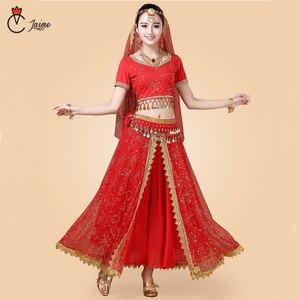 Image 1 - 인도 댄스 의상 볼리우드 드레스 사리 댄스웨어 여성/어린이 밸리 댄스 의상 세트 7 개