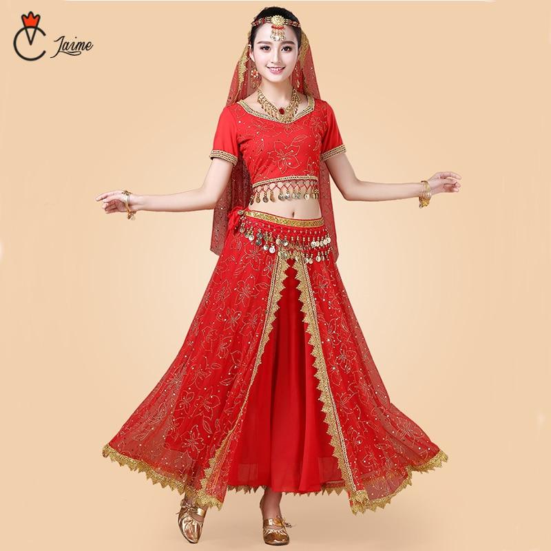 Indian Dance Costumes Bollywood Dress Sari Dancewear Women/Children Belly Dance Costume Set  7 Pieces