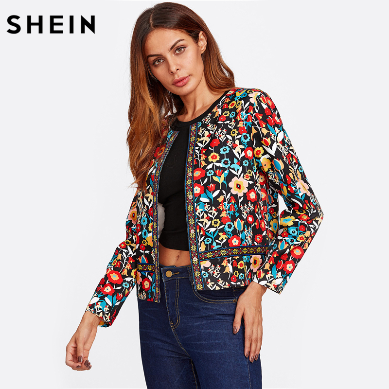 SHEIN Press Button Placket Botanical Jacket Autumn Jacket for Women Multicolor Collarless Single Breasted Elegant Jacket 1