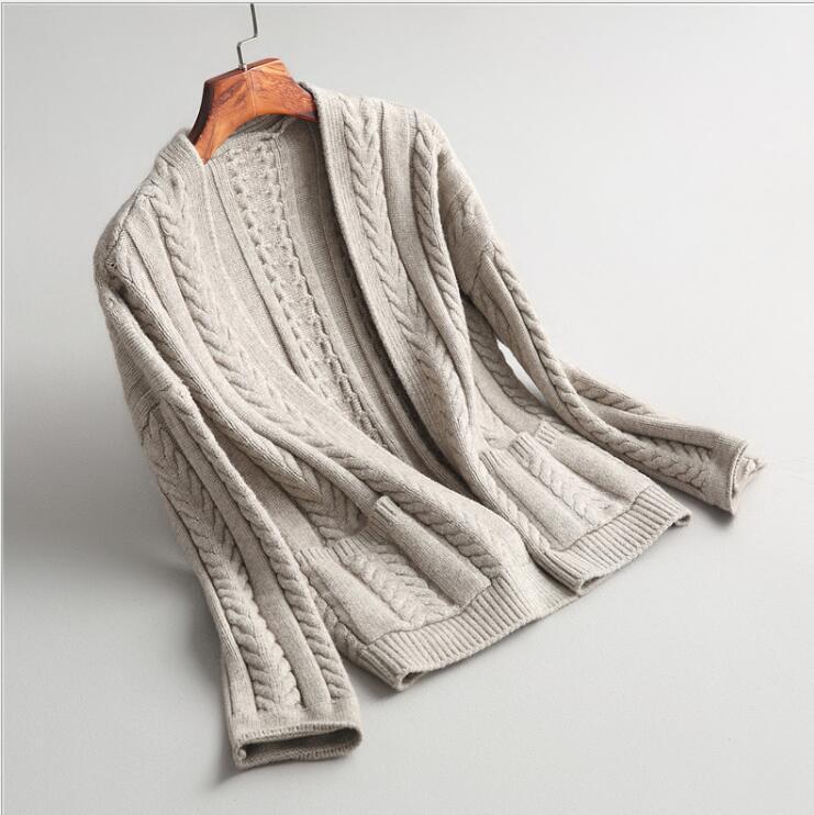 Для женщин кардиган толстый зимний теплая шерсть свитер E1020-003