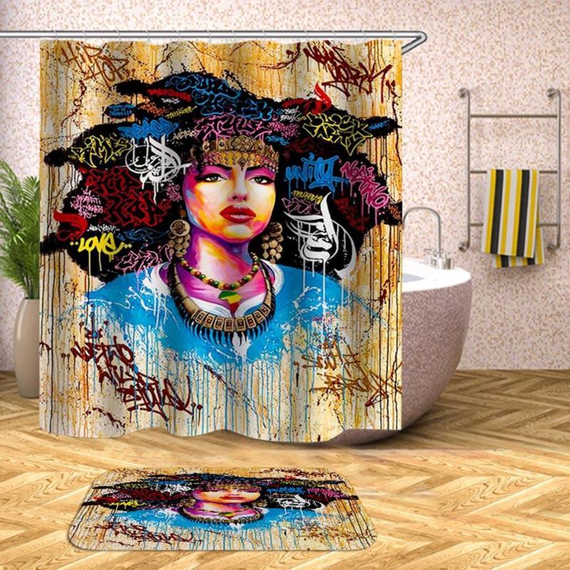 Polyester Fabric Waterproof Bathroom Shower Curtains African Shower Curtain Hotel Bath Shower Curtain F