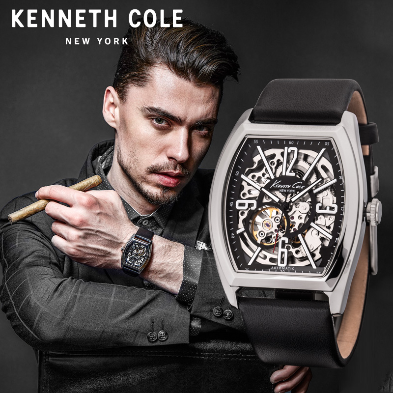 444307c59384 Kenneth Cole Mens Mechanical Watches Black Leather Buckle Large ...