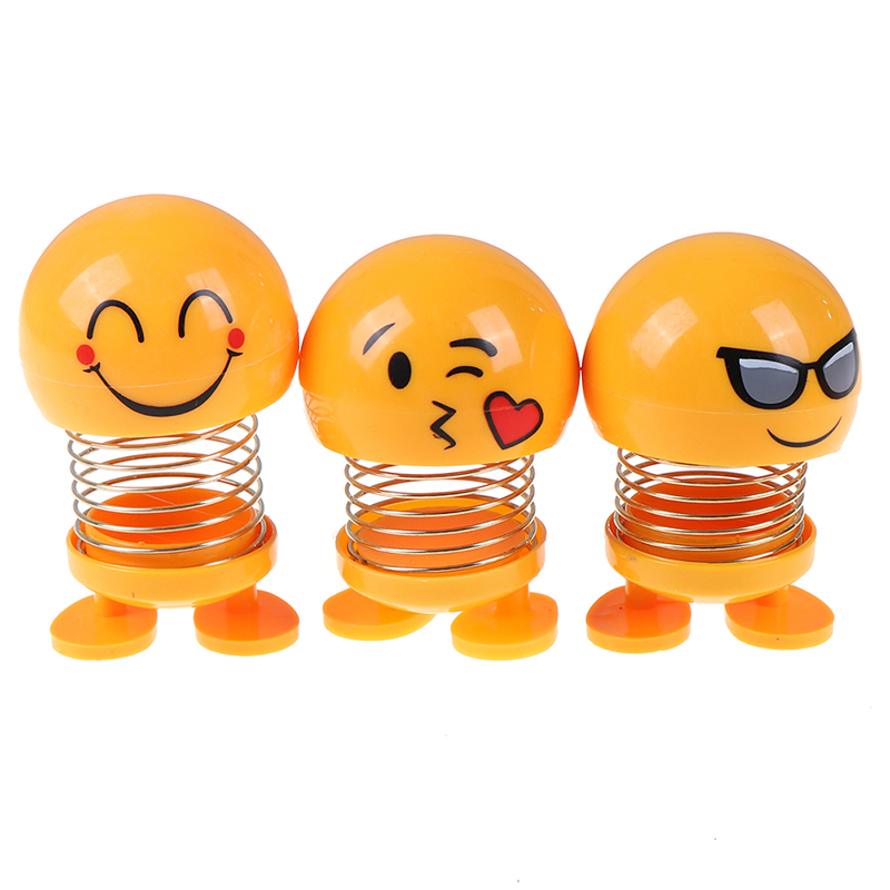 Cute Smile Expression Pack Spring Shaking Head Doll Car Interior Shaking Sound Explosion Section Villain Toy Store Toys For Boy image