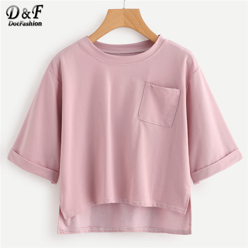 Dotfashion Rotolo Manica Fessura del Lato Alto Basso T Shirt Donna Rosa Plain Top Crop Estate 2018 Girocollo Mezza Manica Tee Shirt