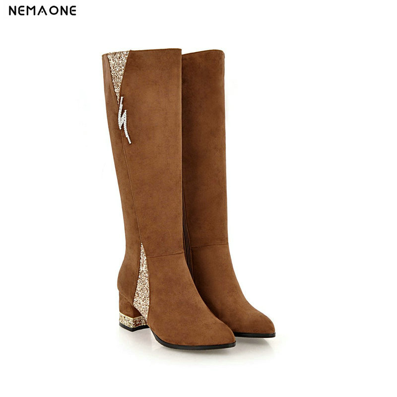 NEMAONE New autumn winter women boots thick high heels knee high boots woman black gray brown dress shoes woman large size 42 43 2017 new women boots ankle boots high heels autumn autumn winter boots women shoes woman brown