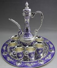 Factory direct sale wholesale Miao silver pot set Jeweled six cup set sapphire set teapot pot