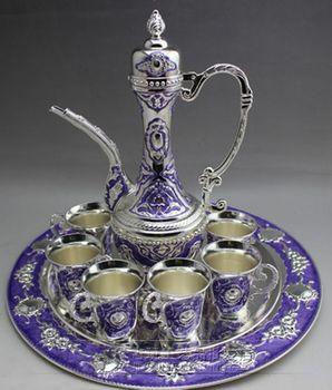 Großverkauf der fabrik großhandel Miao silber topf set Jeweled sechs tasse set sapphire set teekanne topf