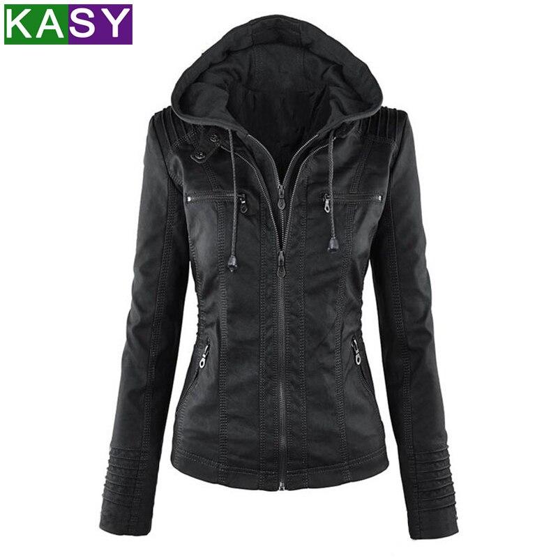 Autumn Winter Women Motorcycle Hooded PU   Leather   Coat Zipper Black Fur   Leather   Jacket Hat Detachable Outwear Plus Size XS-7XL
