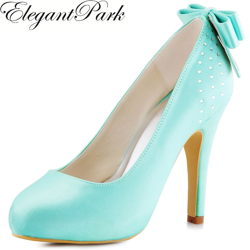 Woman Pumps High Heel Wedding Bridal Shoes Mint green Rhinestones Bow Satin Ladies Bridesmaid Prom Party Dress Shoes EP11034 round toe satin white wedding shoes rose bridal dress shoes party prom dress shoes for ladies