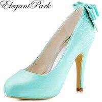 Woman Pumps High Heel Wedding Bridal Shoes Mint green Rhinestones Bow Satin Ladies Bridesmaid Prom Party Dress Shoes EP11034