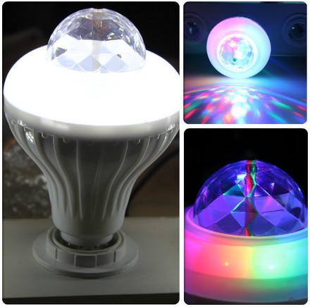 E27 3W RGB Crystal LED Stage Light Auto Rotating Lamp AC 85-265V Laser Disco DJ Party Bar KTV Spotlight Lamp Lighting