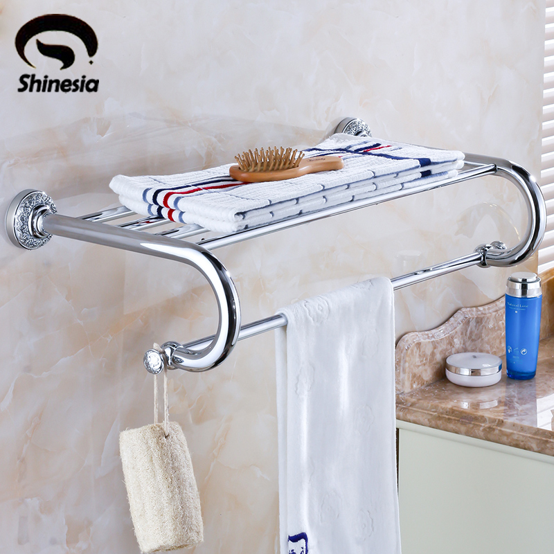цена на Shinesia Chrome Polished Bathroom Towel Rack Towel Holder Solid Brass Bathroom Accessories Wall Mounted
