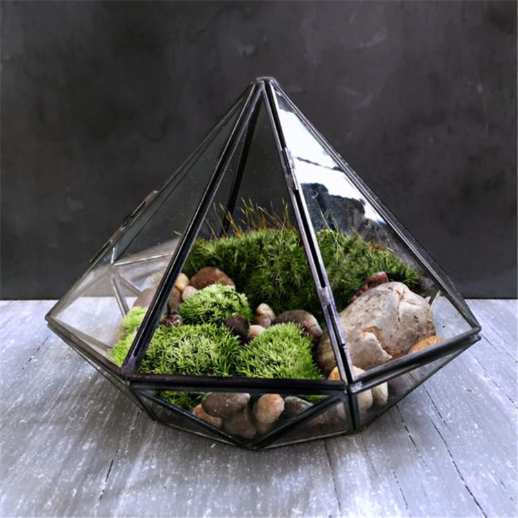 Minimalism Diamond shape Hanging Glass Terrarium,Local Tyrants Black Geometric Glass Solder Terrarium Housing For <font><b>Plants</b></font> Moss