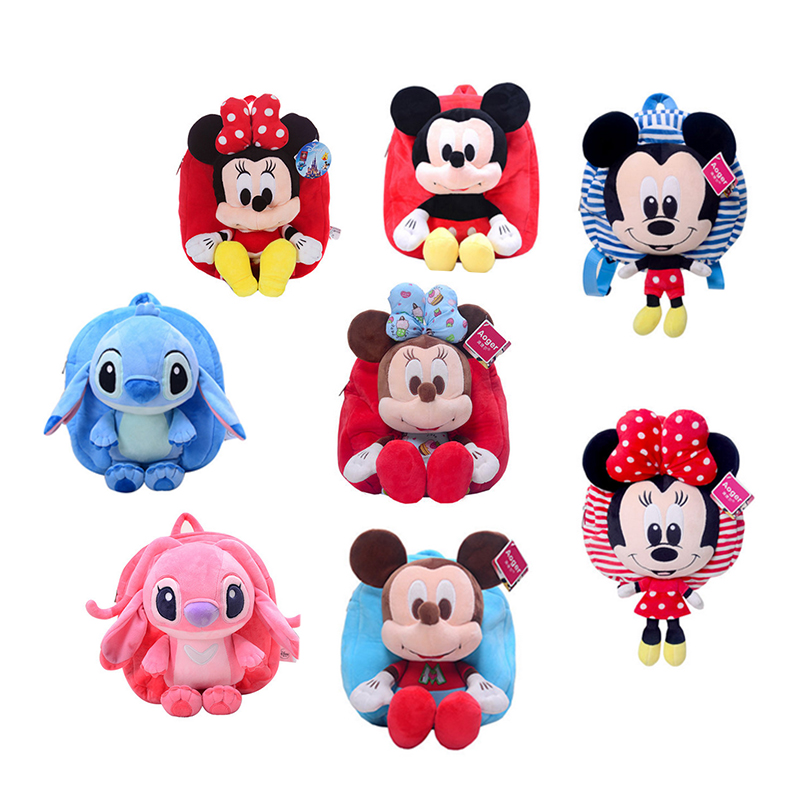 Disney Mickey Minnie Plush Toys Stitch Angie Knapsack Bag Backpack Satchel 27CM Stuffed Doll Birthday Gift for Girl Children cartoon cute doll cat plush stuffed cat toys 19cm birthday gift cat high 7 5 inches children toys plush dolls gift for girl