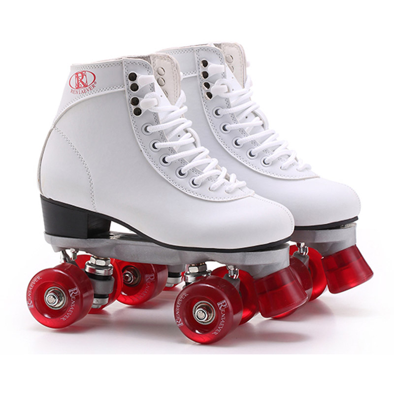 White With Red Wine Wheels Roller Skates Double Line Skates Women Adult Racing 4 Wheels Two line Roller Skating Shoes Patines reniaever double roller skates skating shoe gift girls black wheels roller shoe figure skates white free shipping
