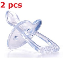 2pcs Simple Clear Transparent Safe Silicone Gel Love Heart  Shape Baby Care Infant Toddler Pacifier Flat Round Nipple