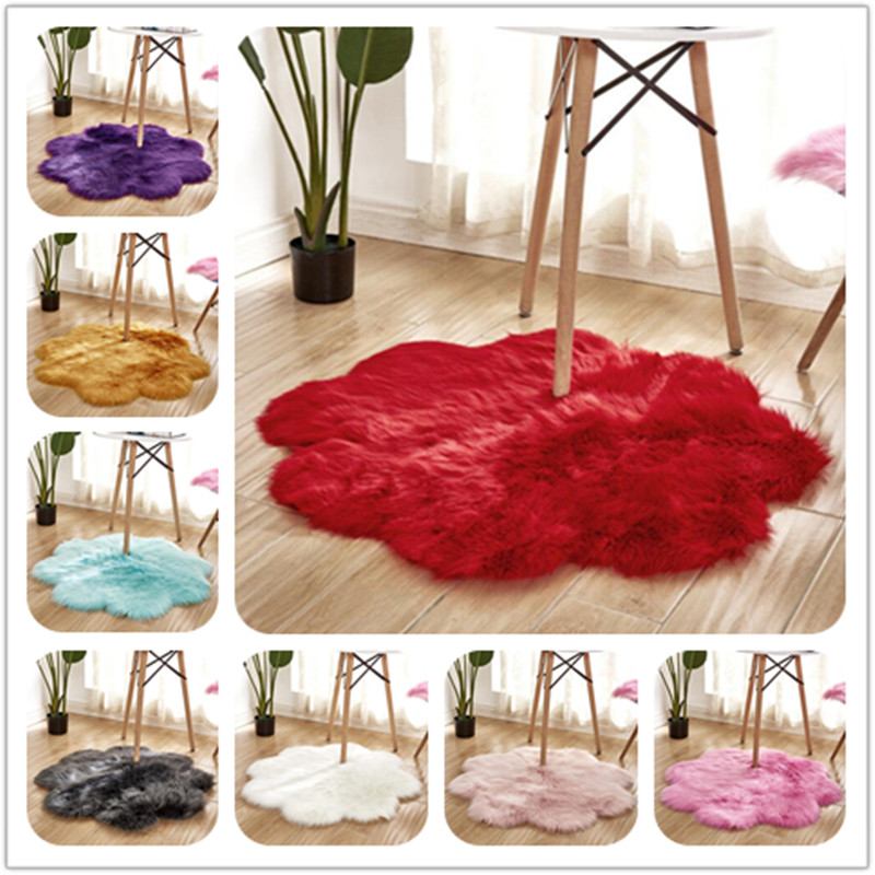 Fleur forme chambre chaise couverture artificielle en peau de mouton doux fourrure tapis Long moelleux tapis laine chaud poilu tapis siège fourrure tapis