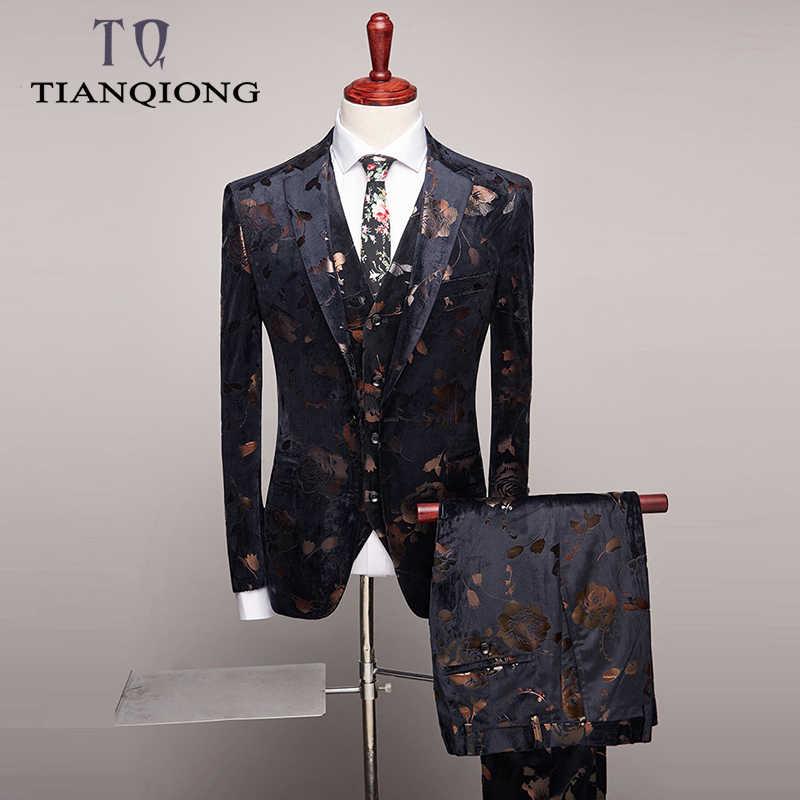 2019 Men Slim Fit Wedding Suits Fashion Design Mens Floral Print Suits Party Dinner Prom Wear Latest Coat Pant Vest Designs Aliexpress
