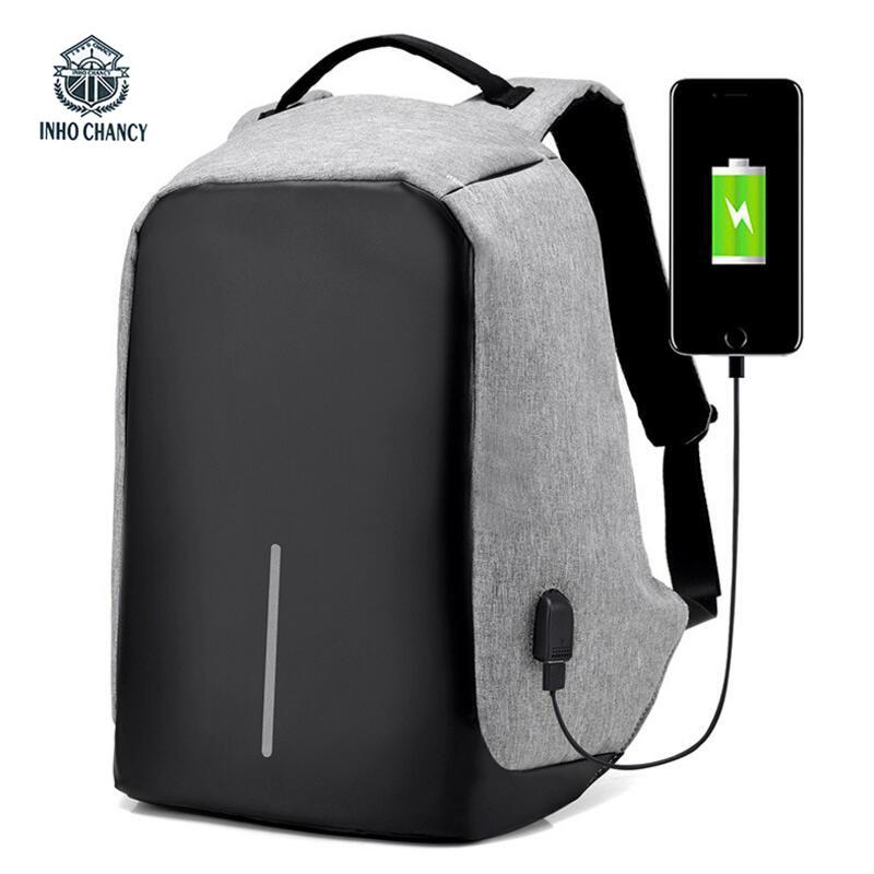 INHO CHANCY Men Anti Theft Backpacks xd design bobby Back Pack School Bags Travel Business USB Charge Laptop mochila bts