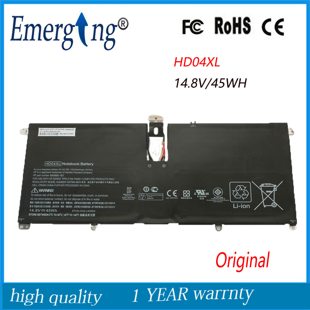 14.8V 45Wh New Original Laptop Battery for HP HD04XL Envy Spectre TU XT 13-2000eg new laptop battery for hp envy spectre xt 13 2000eg 13 2004tu 13 2005tu 13 2023tu 13 2050nr 13 b000 b8w13aa