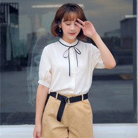 Summer Women Shirts Bowlt Chiffon Stand Neck Short Sleeve 17 School Wear Business Attire Blouse Shirt