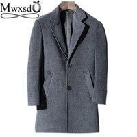Mwxsd brand men's merino wool jackets and coat men winter middle long wool coat warm blend jacket male warm Overcoat