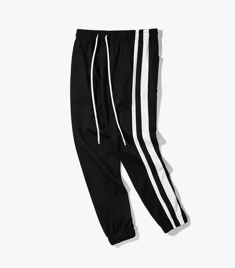Yüksek Sokak 2018 yeni Yan çizgili pantolon Moda hip hop Elastik Bel Joggers pamuklu pantolonlar Rahat Sweatpants Erkek Pantolon